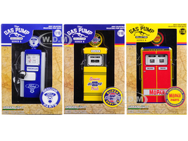 Vintage Gas Pump Series 6 Set 3 Pumps 1/18 Diecast Models Greenlight 14060