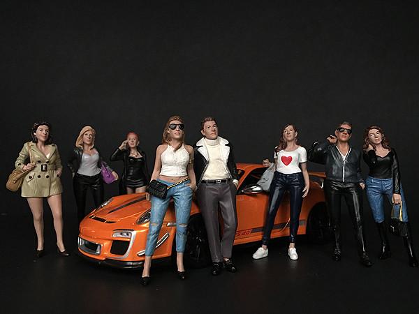 Ladies Night 8 piece Figurine Set for 1/18 Scale Models American Diorama 38189 38190 38191 38192 38193 38194 38195 38196
