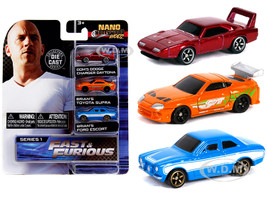 Fast & Furious 3 piece Set Nano Hollywood Rides Series 1 1/65 Diecast Model Cars Jada 31124