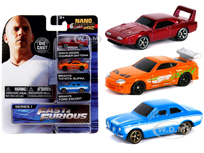 Fast & Furious 3 piece Set Nano Hollywood Rides Series 1 Diecast Model Cars Jada 31124