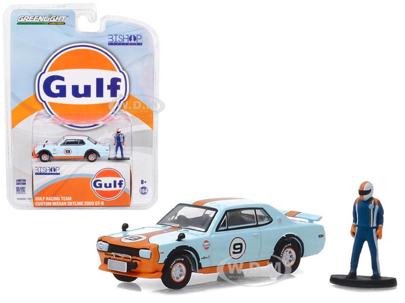 Custom Nissan Skyline 2000 GT-R #9 Gulf Racing Team Race Car Driver Figure Bishop Exclusive 1/64 Diecast Model Car Greenlight 51195 E
