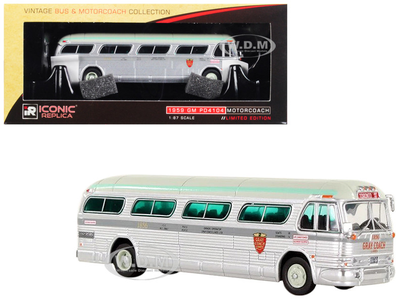 1959 GM PD4104 Motorcoach Gray Coach Lines Toronto Canada Vintage Bus Motorcoach Collection 1/87 Diecast Model Iconic Replicas 87-0147