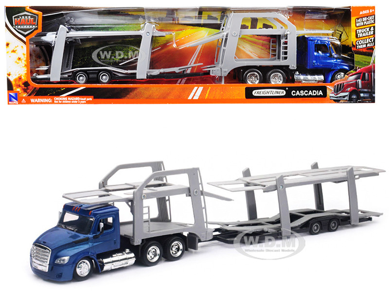 Freightliner Cascadia Twin Auto Carrier Blue Gray Long Haul Trucker 1/43 Diecast Model New Ray 16033