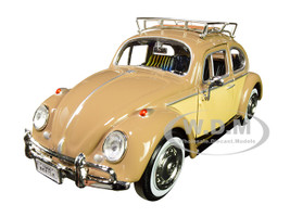 1966 Volkswagen Classic Beetle Roof Luggage Rack Light Brown 1/24 Diecast Car Model Motormax 79559