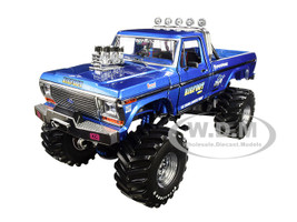 1974 Ford F-250 Bigfoot #1 The Original Monster Truck Blue 48-Inch Tires Kings of Crunch 1/18 Diecast Model Car Greenlight 13537