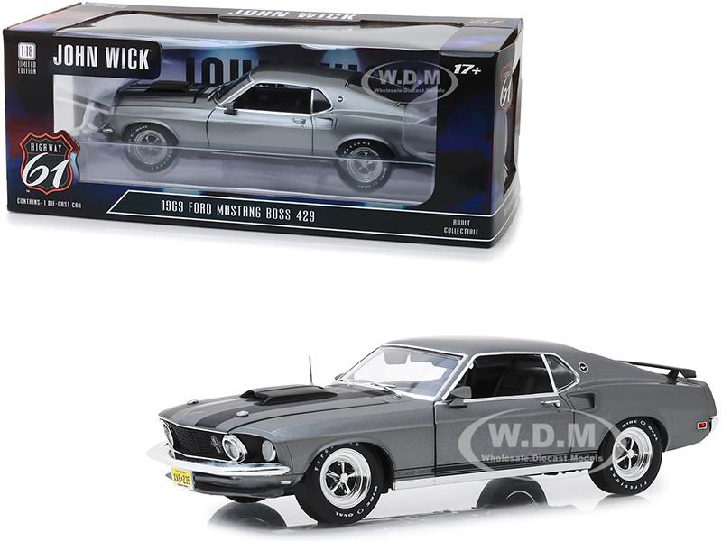 1969 Ford Mustang BOSS 429 Gray Black Stripes John Wick 2014 Movie 1/18 Diecast Model Car Highway 61 18016
