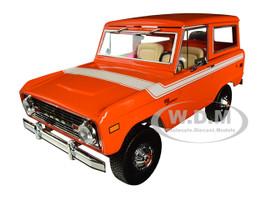 1977 Ford Bronco Orange White Stripe Special Decor 1/18 Diecast Model Car Greenlight 19058