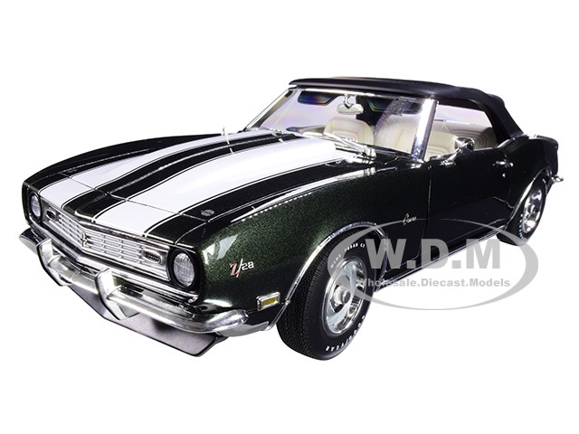 1968 Chevrolet Camaro Z/28 Convertible Dark Fathom Green Metallic White Stripes Limited Edition 570 pieces Worldwide 1/18 Diecast Model Car ACME A1805715