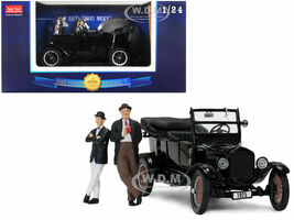 1925 Ford Model T Touring Open Black Laurel and Hardy Figurines 1/24 Diecast Model Car SunStar 1905