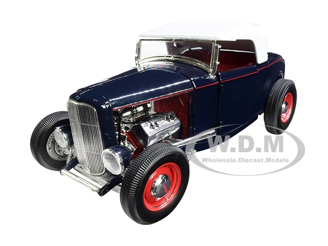 1932 Ford Roadster Washington Blue White Top Limited Edition 500 pieces Worldwide 1/18 Diecast Model Car ACME A1805014