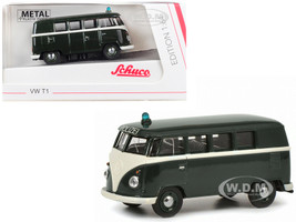 Volkswagen T1 Police Bus Polizei Dark Green 1/64 Diecast Model Schuco 452015400