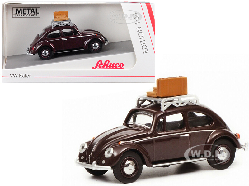 Volkswagen Beetle Kafer Roof Rack Luggage Dark Red 1/64 Diecast Model Car Schuco 452017000