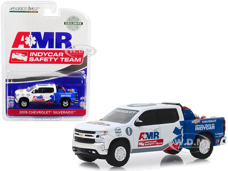 2019 Chevrolet Silverado Pickup Truck AMR IndyCar Safety Team Safety Equipment Truck Bed 1/64 Diecast Model Car Greenlight 30036