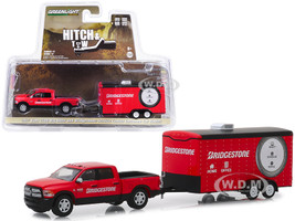 2017 Dodge Ram 2500 Big Horn Pickup Truck Enclosed Car Hauler Bridgestone Service Center Red Hitch & Tow Series 17 1/64 Diecast Model Car Greenlight 32170 C