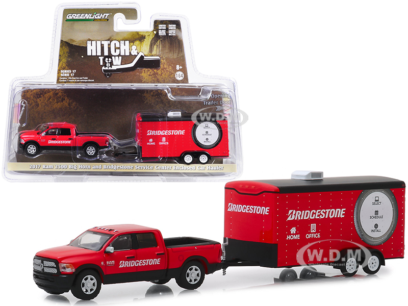 2017 RAM 2500 Big Horn Pickup Truck Enclosed Car Hauler Bridgestone Service Center Red Hitch & Tow Series 17 1/64 Diecast Model Car Greenlight 32170 C