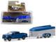 2018 Nissan Titan XD Pro-4X Pickup Truck Dark Blue Aerovault MKII Trailer Hitch & Tow Series 17 1/64 Diecast Model Car Greenlight 32170 D