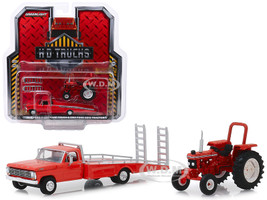 1969 Ford F-350 Ramp Truck Red 1985 Ford 5610 Tractor Red Unrestored HD Trucks Series 16 1/64 Diecast Models Greenlight 33160 A