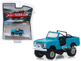 1967 Ford Bronco Doors Removed Teal Medium Blue-Green All Terrain Series 8 1/64 Diecast Model Car Greenlight 35130 A