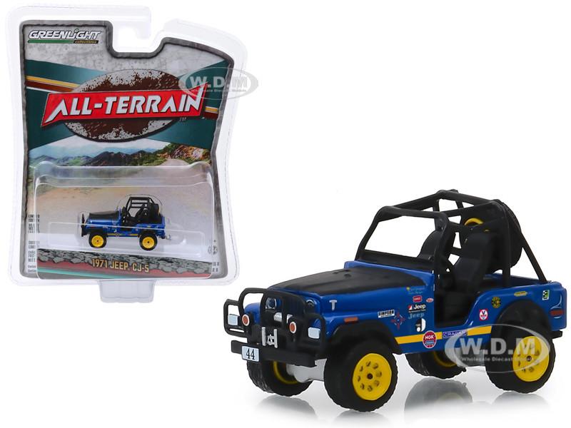 1971 Jeep CJ-5 #44 Baja Cragar Dark Blue Black Hood All Terrain Series 8 1/64 Diecast Model Car Greenlight 35130 B