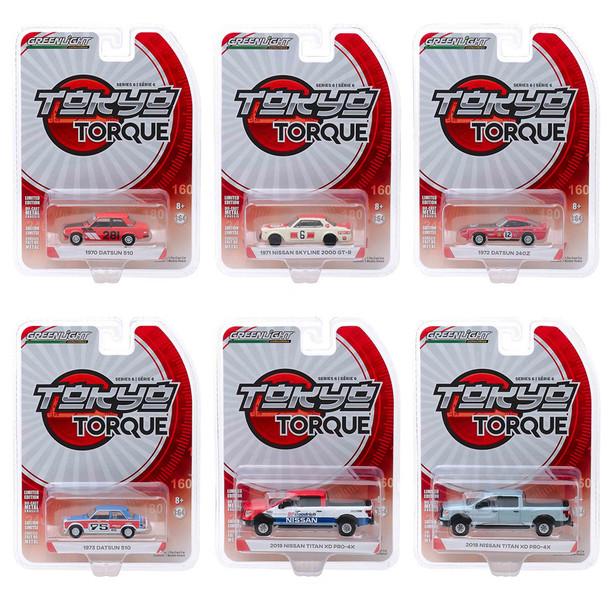 Tokyo Torque Series 6 Set 6 pieces 1/64 Diecast Model Cars Greenlight 47040