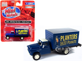 1955 Chevrolet Box Truck Planters Peanuts Dark Blue 1/87 HO Scale Model Classic Metal Works 30568