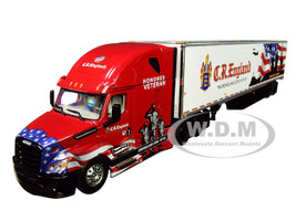 Freightliner Cascadia New High Roof Sleeper Cab 53' Utility Reefer Refrigerated Trailer CR England Honored Veterans 1/64 Diecast Model DCP First Gear 60-0541
