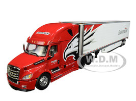 2018 Freightliner Cascadia High Roof Sleeper Cab 53' Utility Reefer Refrigerated Trailer Cedarpoint Trucking 1/64 Diecast Model DCP First Gear 60-0546