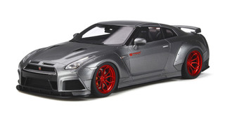Nissan GT-R R35 Metallic Gray Red Wheels Modified Prior Design Limited Edition 500 pieces Worldwide 1/18 Model Car GT Spirit GT243