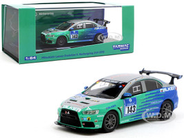 Mitsubishi Lancer Evolution X #143 Nurburgring 24H 2010 Falken Tires 1/64 Diecast Model Car Tarmac Works T64-004-NUR