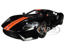 2017 Ford GT Shadow Black Orange Stripes 1/18 Model Car Autoart 72945