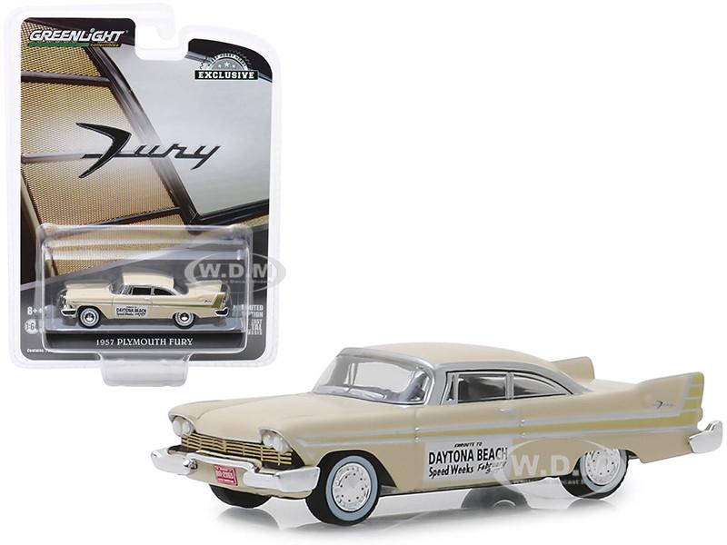 1957 Plymouth Fury Cream Daytona Beach Speed Weeks February 3-17 1957 Hobby Exclusive 1/64 Diecast Model Car Greenlight 30046
