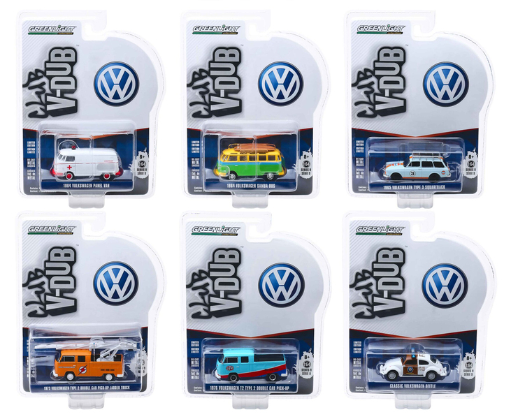 Club Vee V-Dub Series 9 6 piece Set 1/64 Diecast Model Cars Greenlight 29960