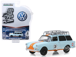 1965 Volkswagen Type 3 Squareback #3 Gulf Oil Roof Rack Club Vee V-Dub Series 9 1/64 Diecast Model Car Greenlight 29960 C