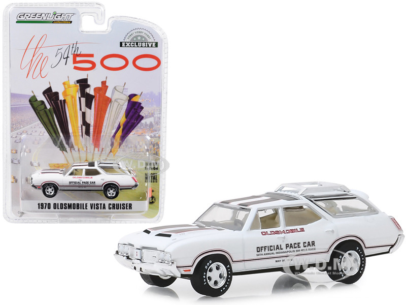 1970 Oldsmobile Vista Cruiser White 54th Annual Indianapolis 500 Mile Race Oldsmobile Official Pace Car Hobby Exclusive 1/64 Diecast Model Car Greenlight 30049