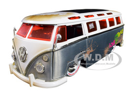 1962 Volkswagen Bus Hippie Van Metal Raw White Top Dirty FOR SALE Jada 20th Anniversary 1/24 Diecast Model Car Jada 31075
