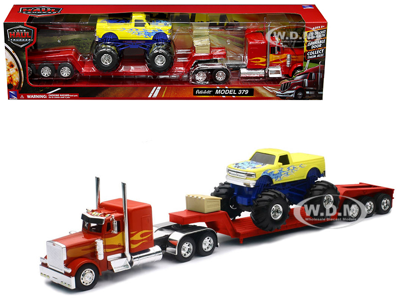 Peterbilt 379 Lowboy Truck Red with Flames  Monster Truck Yellow with Flames 1/32 Diecast Model New Ray 11263 A