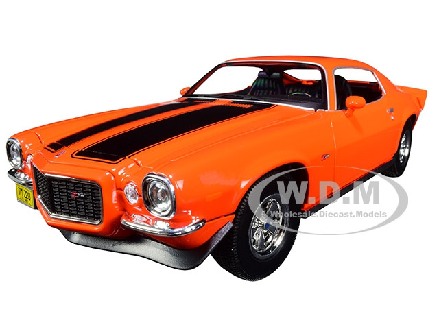 1971 Chevrolet Camaro Orange Black Stripes 1/18 Diecast Model Car Maisto 31131
