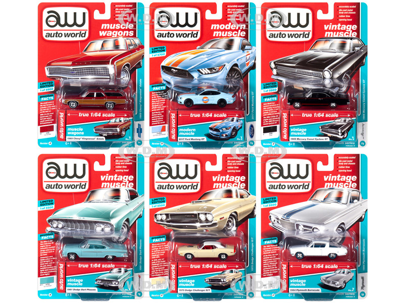 Autoworld Muscle Cars Premium 2019 Release 3, Set A of 6 Cars 1/64 Diecast  Models by Autoworld