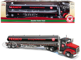 Texaco Gasoline Tanker Truck Driving Performance Black 1/43 Diecast Model Autoworld CP7595