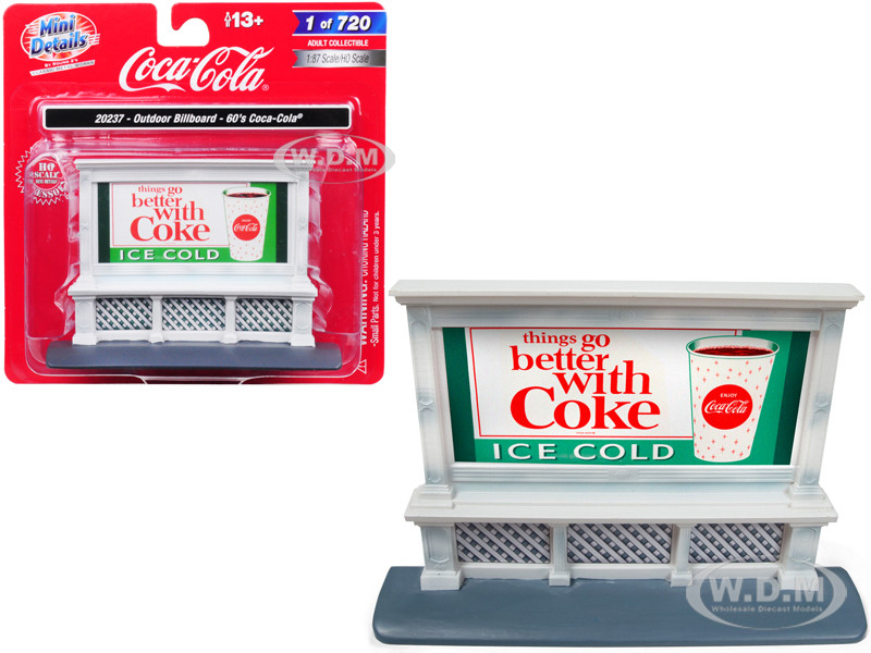 Outdoor Billboard 60's Coca Cola for 1/87 HO Scale Models Classic Metal Works 20237