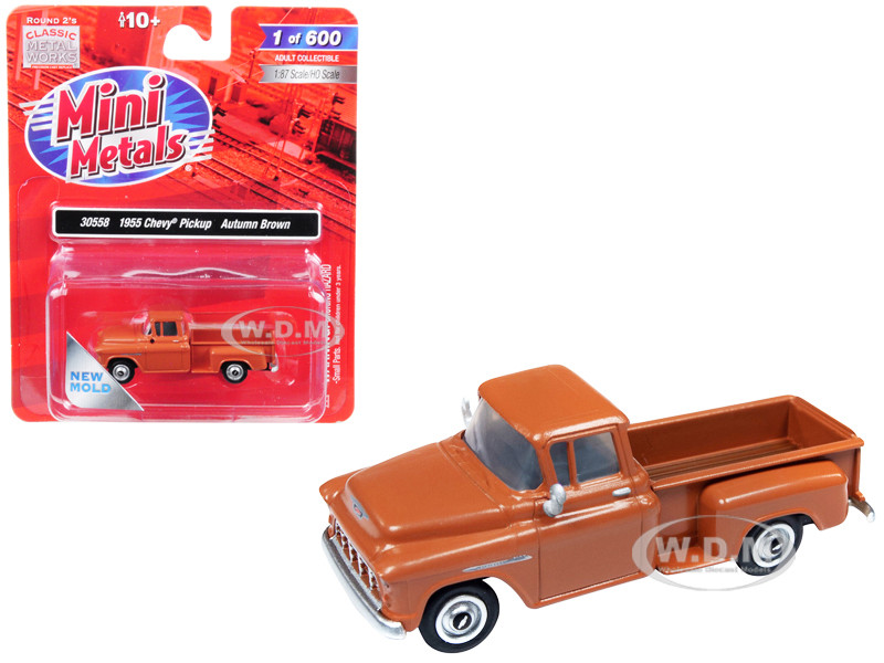 1955 Chevrolet Pickup Truck Autumn Brown 1/87 HO Scale Model Car Classic Metal Works 30558
