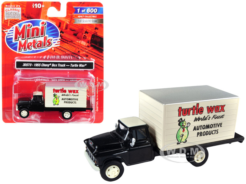 1955 Chevrolet Box Truck Turtle Wax Black Cream 1/87 HO Scale Model Classic Metal Works 30570
