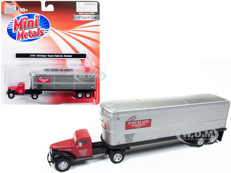 1941 1946 Chevrolet Tractor Trailer Truck Strickland Red Silver 1/87 HO Scale Model Classic Metal Works 31176