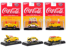 Coca Cola Yellow Release 2 Set 3 Cars Limited Edition 9600 pieces Worldwide Hobby Exclusive 1/64 Diecast Model Cars M2 Machines 52500-YR02