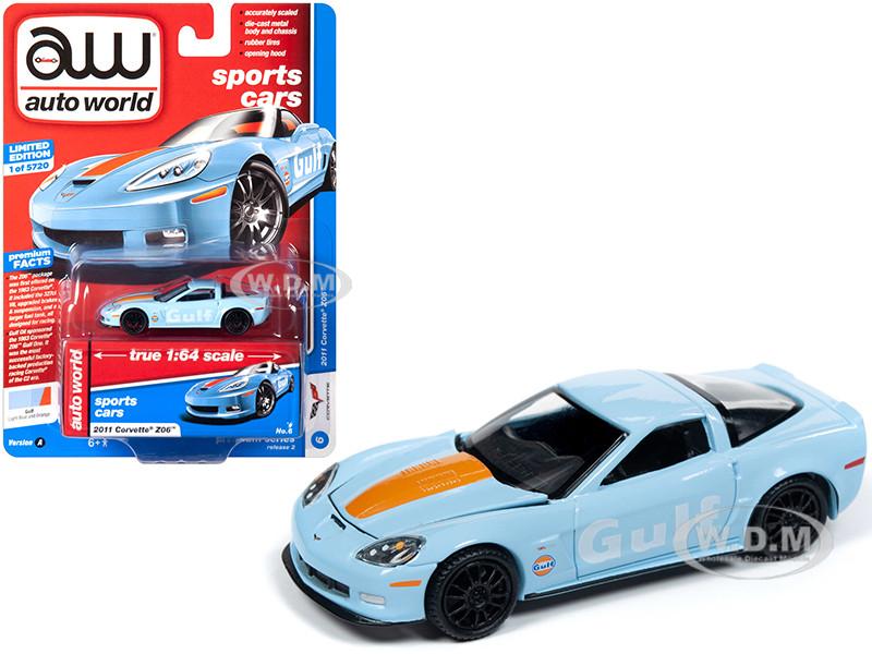 2011 Chevrolet Corvette Z06 Gulf Oil Light Blue Orange Hood Stripe Sports Cars Limited Edition 5720 pieces Worldwide 1/64 Diecast Model Car Autoworld 64222 CP7598