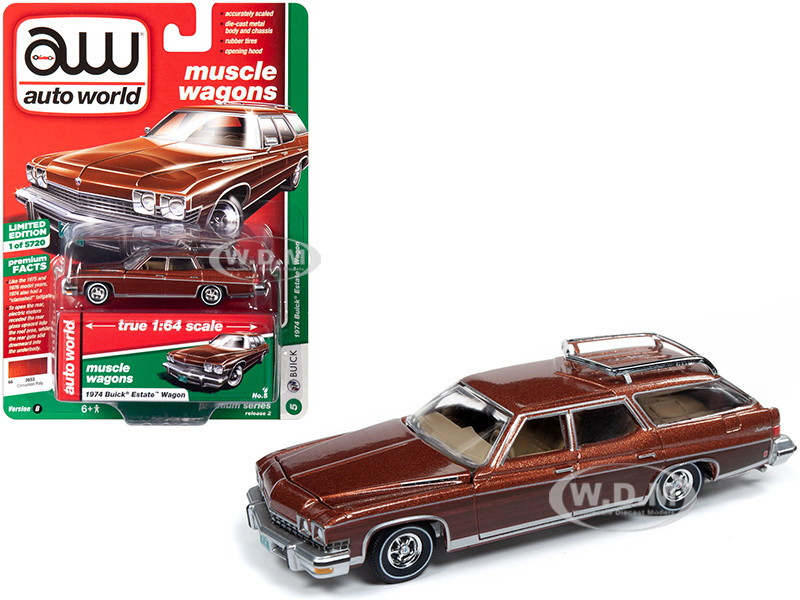 1974 Buick Estate Wagon Cinnamon Brown Metallic Woodgrain Sides Muscle Wagons Limited Edition 5720 pieces Worldwide 1/64 Diecast Model Car Autoworld 64222 CP7601