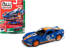 2011 Chevrolet Corvette Z06 #21 Gulf Oil Dark Blue Orange Stripes Sports Cars Limited Edition 5720 pieces Worldwide 1/64 Diecast Model Car Autoworld 64222 CP7602
