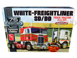 Skill 3 Model Kit White Freightliner SD/DD Truck Tractor 2 in 1 Kit Display Base 75th Freightliner Anniversary Commemorative Edition 1/25 Scale Model AMT AMT1046