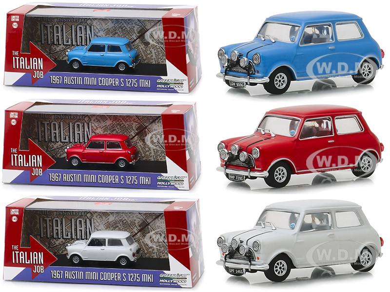 The Italian Job 1969 Movie Austin Mini Cooper 3 piece Set 1/43 Diecast Model Cars Greenlight 86549 86550 86551