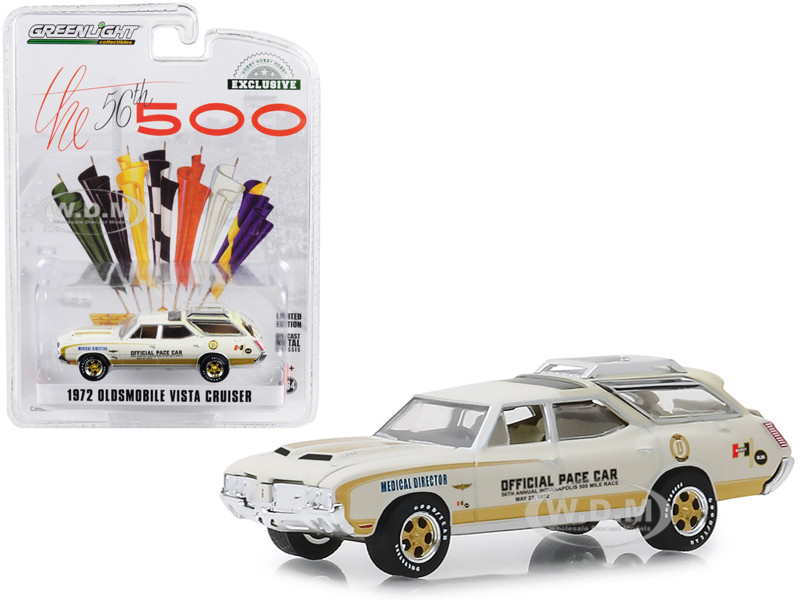 1972 Oldsmobile Vista Cruiser Cream Medical Director 56th Annual Indianapolis 500 Mile Race Official Pace Car Hobby Exclusive 1/64 Diecast Model Car Greenlight 30050